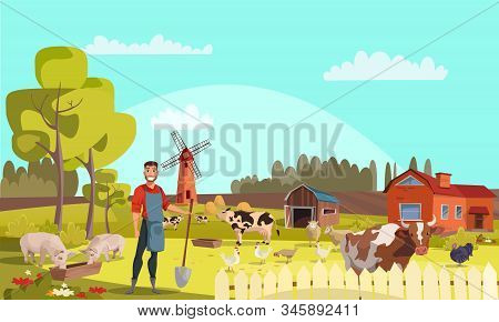 Farmer with shovel flat vector illustration. Summer farm landscape with mill, cattle, poultry. Cows, pigs, chicken, turkeys graze. Rural scenery with barn, trees, flowers. Farming, agricultural work stock photo