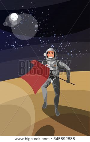 Astronaut on planet surface vector illustration. Cheerful cosmonaut in space suit holding flag cartoon character. Brave pioneer, galaxy expedition, landing. Interstellar travel, cosmic expedition stock photo