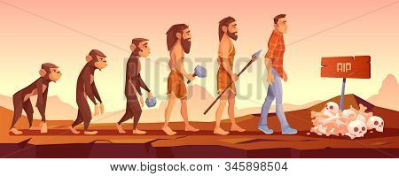 Extinction of human species, evolution time line, monkey turn to upright homo sapience, male character evolve from ape to modern man going to grave with sculls and rip sign Cartoon illustration stock photo