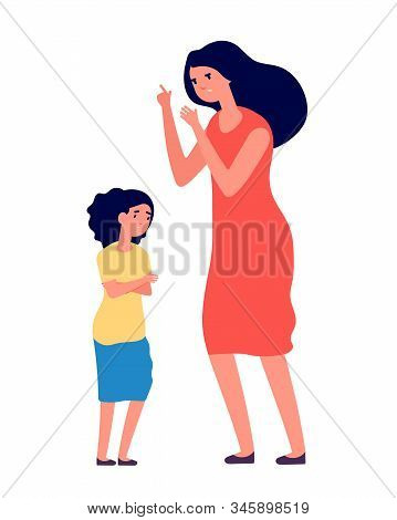 Child abuse. Parent abusing kid, mother shouts to unhappy daughter. Woman scolds sad girl, family problems. Vector conflict illustration. Kid abuse, child sad, parent angry to girl stock photo