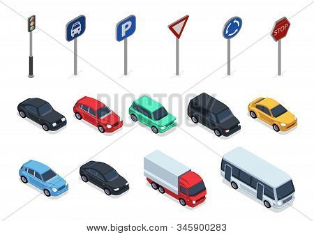 Isometric cars. Road signs, 3d vehicles isolated on white background. Autos, truck and bus vector set. Auto vehicle and roadsigns isometric illustration stock photo