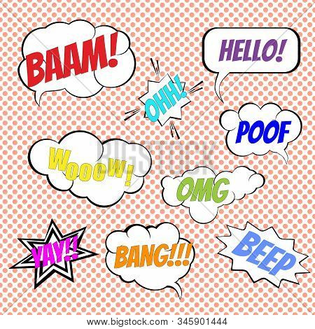 Vector comic book explosion elements collection. Comic wording sound effect, set speech bubbles design for comic background, comic strip stock photo