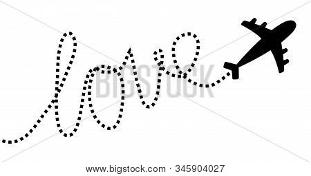 Airplane flying. Dash line word Love in the sky. Air plane icon. Black silhouette shape. Travel trace. Happy Valentines Day romantic card. Flat design. White background. Isolated. Vector illustration stock photo