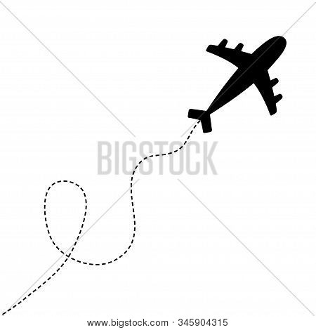 Air plane icon. Black silhouette shape. Airplane flying. Dash line loop in the sky. Travel trace. Love romantic card. Flat design. White background. Isolated. Vector illustration stock photo