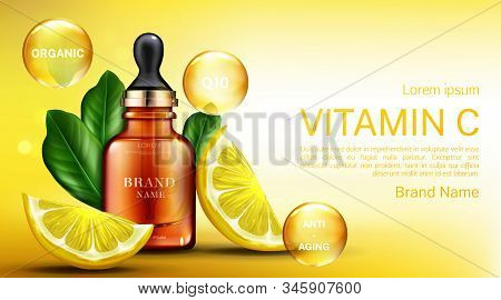 Vitamin cosmetics bottle with pipette, organic anti aging serum, q10 fruit acid product package mockup background with lemon slices. Natural eco cosmetic skin care. Realistic 3d illustration stock photo