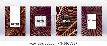 Hipster brochure design template set. Gold abstract lines on bordo background. Amazing brochure design. Neat catalog, poster, book template etc. stock photo