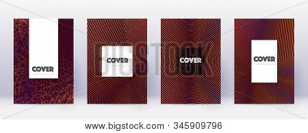 Hipster brochure design template set. Orange abstract lines on wine red background. Amusing brochure design. Brilliant catalog, poster, book template etc. stock photo