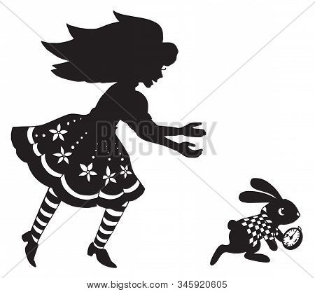 the silhouette of Alice and the rabbit. beautiful picture for paper cutting or engraving. print for printing on clothes stock photo