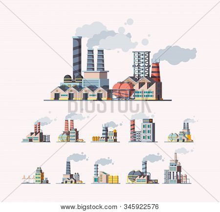 Factory. Industrial buildings manufactures air pollution vector flat pictures. Illustration building manufacturing tower, production construction with pipeline stock photo