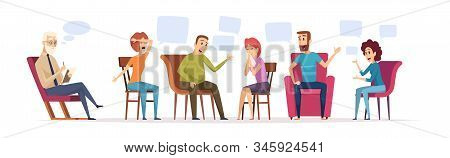 Group therapy. Crowd sitting dialogue with therapist emotional conversation patient with doctor psychology problems vector concept. Psychoanalysis conversation, group psychotherapy illustration stock photo