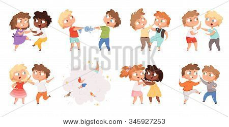 Boys fighting. School bully angry kids punishing in playground vector cartoon characters set. Illustration angry boy and girl, bullying problem, behavior aggression stock photo