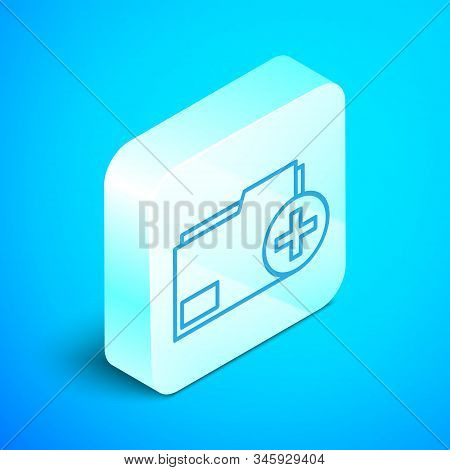 Isometric line Add new folder icon isolated on blue background. New folder file. Copy document icon. Add attach create folder make new plus. Silver square button. Vector Illustration stock photo