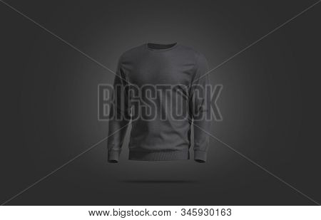 Blank black casual sweatshirt mock up, dark backgroud, 3d rendering. Empty daily cotton sweater mockup, left side view. Clear trendy overall pullover for logotype mokcup template. stock photo