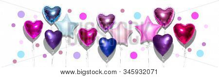 Air Balloons. Bunch of purple heart shaped foil balloons, isolated on white background. Love. Holiday celebration. Valentine's purple, red, pink, blue. Day party decoration. Metallic balloon Birthday stock photo