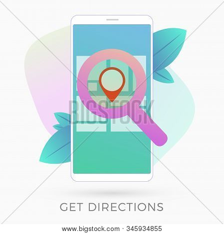 GPS navigation service app flat vector icon. Get directions and go to the point on map with smartphone gps navigator application. Route planning for travel, city streets walking stock photo