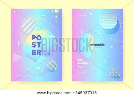 Rainbow Pastel Poster. Abstract Memphis Illustration. Liquid Design. Colorful Brochure. Pink Pastel Cover. Blue Abstract Gradient Elements. Magic Wave Design. Music Placard. Pastel Flow. stock photo
