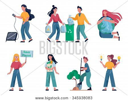 Ecology concept. Idea of recycling, garbage sorting and alternative energy. stock photo