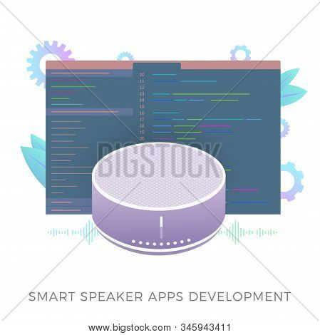 Smart speaker apps development flat vector icon. Wireless virtual voice assistant application software with developer code window. Isolated on white vector illustration. stock photo