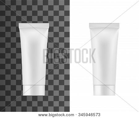 Cosmetic white tube package, isolated 3D mockup template. Vector realistic blank plastic tube with cap of toothpaste, hand cream or lotion, facial cleanser and liquid skincare moisturizer tube pack stock photo
