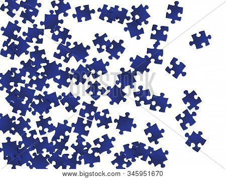 Abstract riddle jigsaw puzzle dark blue pieces vector background. Top view of puzzle pieces isolated on white. Teamwork abstract concept. Jigsaw pieces clip art. stock photo