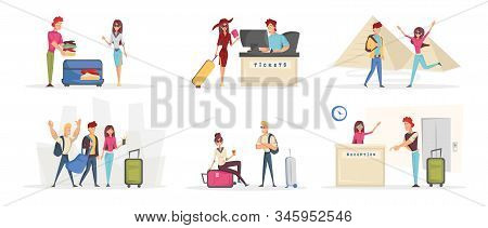 Cheerful young tourists cartoon characters set. Tourism, holiday adventure flat vector illustrations pack. Happy travelers packing bags, buying tickets and taking pictures. People on vacation stock photo