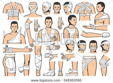 Trauma bandaging technique, first aid medical emergency. Vector people bandage and guide for leg, arm and head fracture injury, elbow and ankle joint sprains, clinic ambulance and hospital rescue stock photo