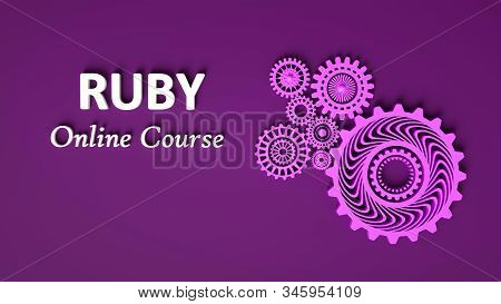 3D rendering of RUBY Online course with cogwheels in monochrome purple color. Copy space. Advertising signboard,violet banner. Ruby online learning. 3D illustration stock photo