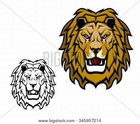 Lion head mascot. King of animal, african safari, sport club or heraldic vector symbol. Savannah wild cat roaring showing teeth, fangs and brown mane. Isolated cartoon sport mascot stock photo