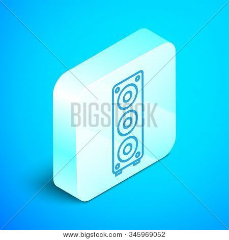 Isometric line Stereo speaker icon isolated on blue background. Sound system speakers. Music icon. Musical column speaker bass equipment. Silver square button. Vector Illustration stock photo