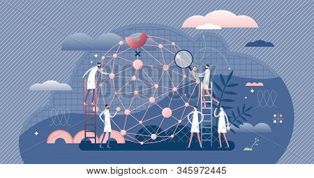 AI network machine learning developers, flat tiny persons concept vector illustration. Abstract cyberspace system design process. Big data research algorithm and industry 4.0 innovation progress. stock photo