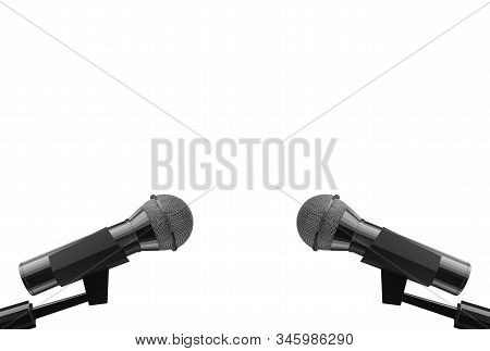 3d rendering. Two microphone with clipping path isolated on white background. stock photo
