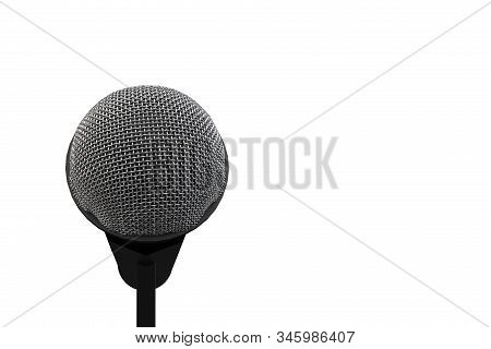 3d rendering. A microphone head with clipping path isolated on white background. stock photo