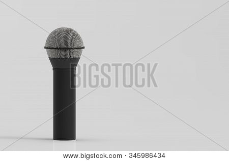 3d rendering. A microphone with clipping path isolated on gray background. stock photo