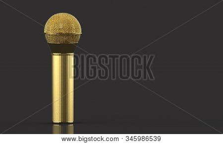 3d rendering. A Golden microphone with clipping path isolated on gray background. stock photo