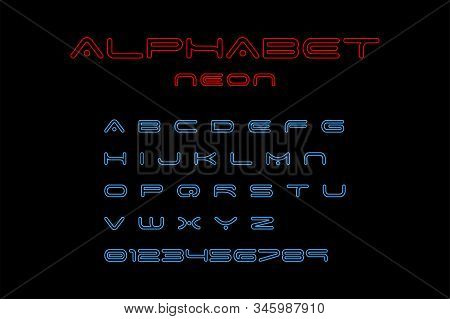 Alphabet Neon Font, isolated on black background. Alphabet Neon Font red and blue color. Modern design. Glowing alphabet font. Set of abc in neon design. Vector illustration stock photo