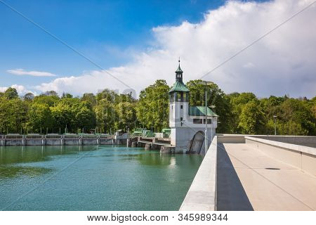 Hochablass (High Drain) Dam on Lech river south of Augsburg, Swabia, Bavaria, Germany, a part of UNESCO World Heritage Site Water Management System of Augsburg stock photo