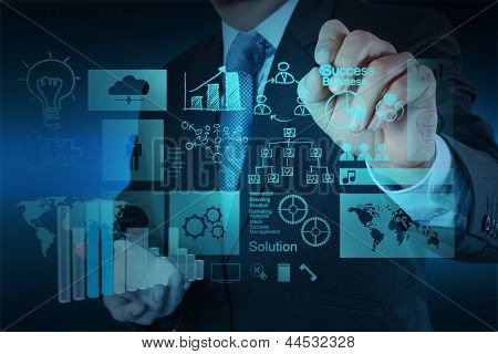 Businessman Hand Working With New Modern Computer And Business Success