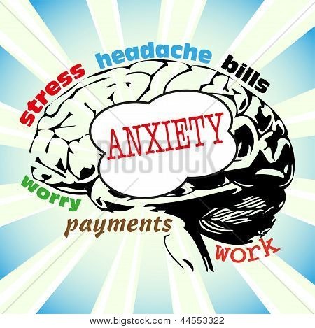 Abstract colorful background with brain shape and the word anxiety with other related words written on the brain stock photo