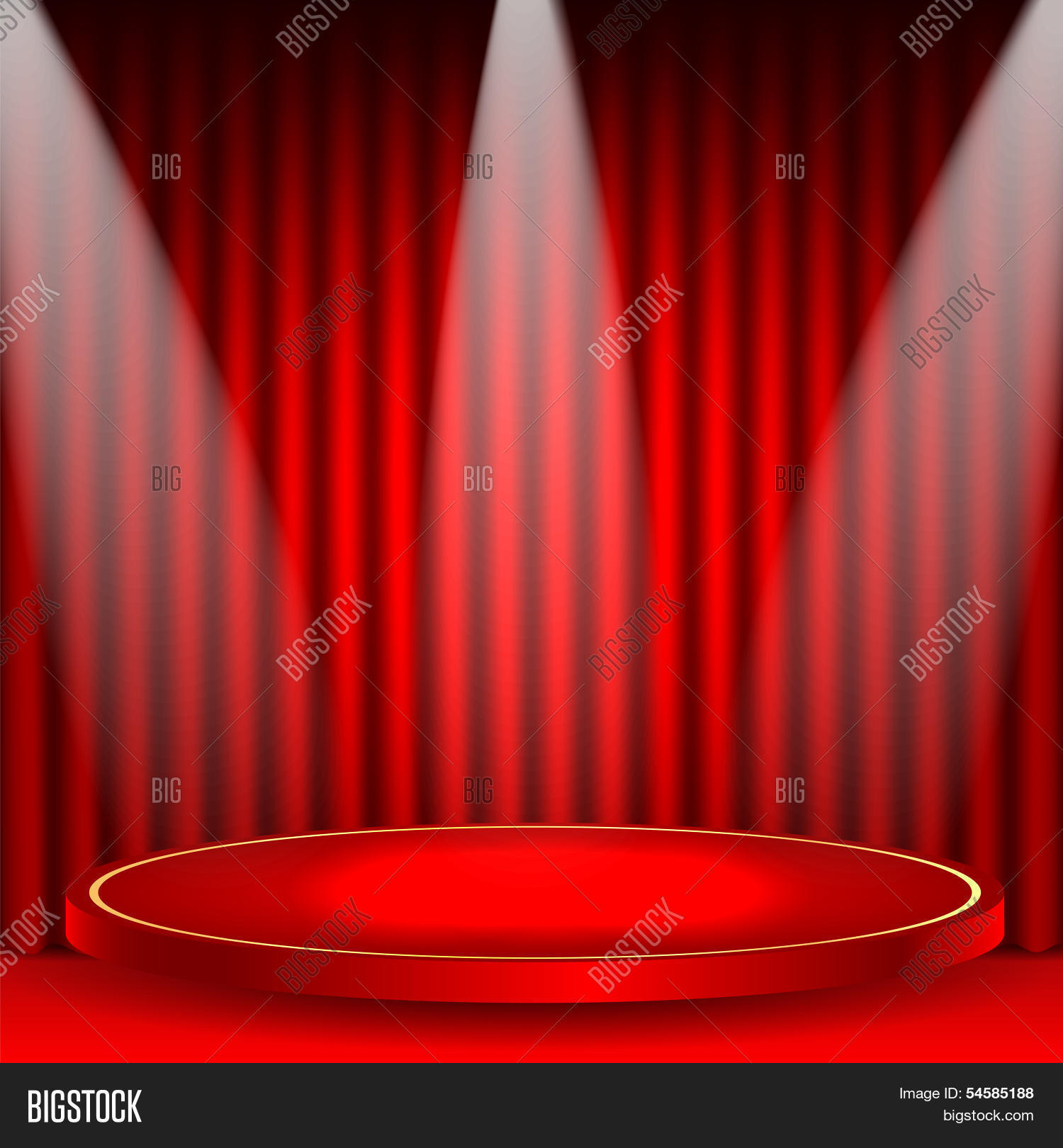 Theatrical Background Scene And Red Curtains Illuminated Floodlights Podium On A Backgroun Image Stock Photo 54585188