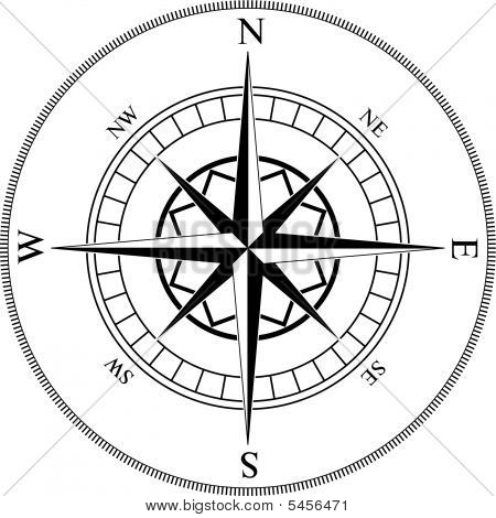 Compass winds rose black and white vector shape. stock photo
