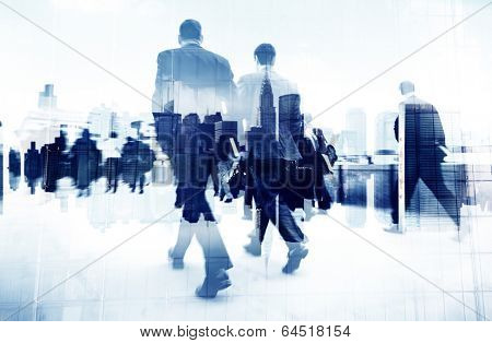 Abstract Image of Business People Walking on the Street