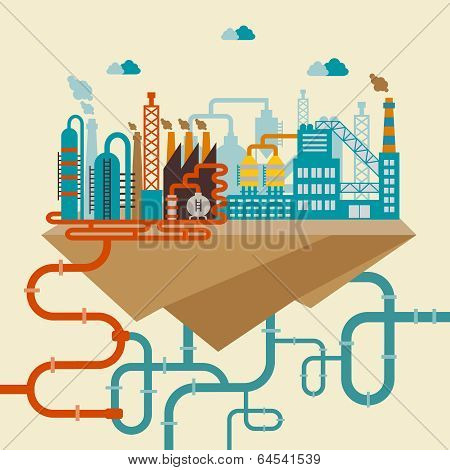 Illustration of a factory for manufacturing products or refinery plant for processing natural resources with a network of attached pipes for distribution stock photo