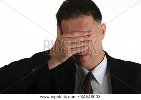 Bussines man unhappy with his results stock photo