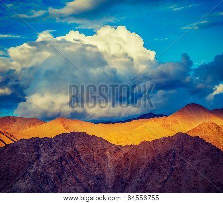 Vintage retro effect filtered hipster style travel image of himalayas mountains on sunset. ladakh, j