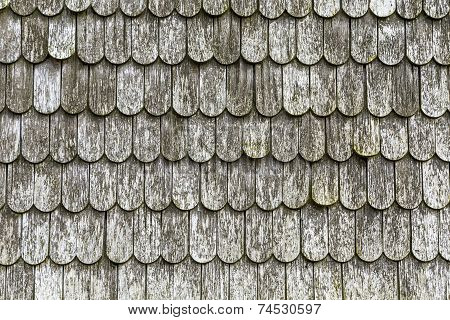 old wooden shingles on the roof at Dutch windmill in Benz stock photo