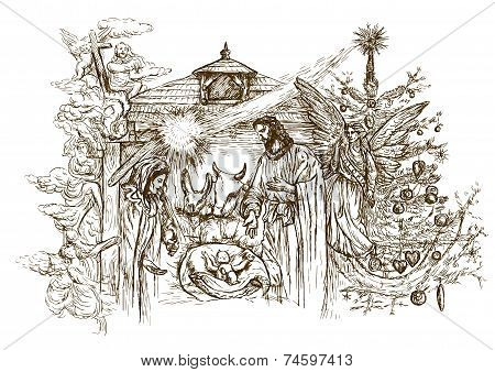 Nativity Scene - (takes its inspiration from the accounts of the birth of Jesus in the Gospels of Matthew and Luke). Vector illustration (3 layers) on white. stock photo