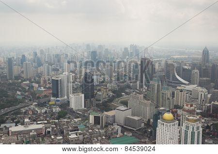 Smog over Bangkok in city center obscures the sky stock photo