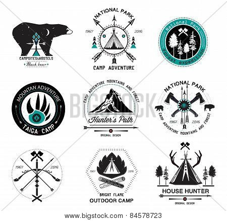 Set of vintage camp labels. Set of hunting  logo, labels and design elements