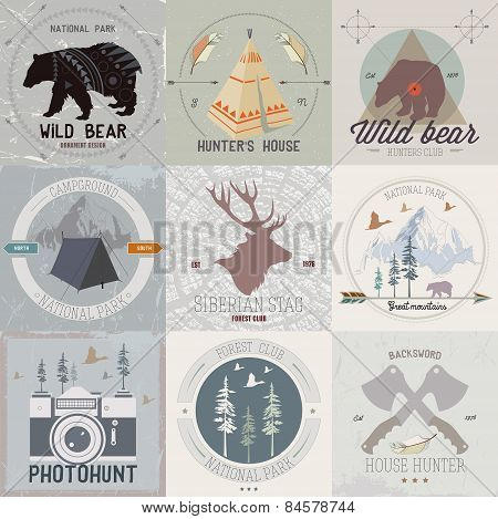 Set of vintage camping and outdoor activity logos