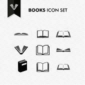 Basic Books Icon Set Isolated
